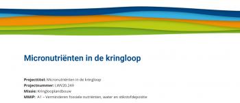 Micronutrienten in de Kringloop
